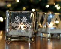Etched Glass Candleholder