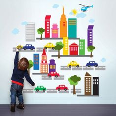 Just did the kids walls w/ French Bull City Wall Stickers from Wall Candy Arts- they are having a sale now! City Wall Stickers, Childrens Wall Stickers, Kids Wall Decals, Removable Wall Decals, Wall Decal Sticker, Wall Stickers Toddler Boy, Room Stickers, Modern Kids Decor, Wall Candy