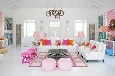 Simple Decor Ideas For Teen Girl Bedrooms Colorful Interior Design, Colorful Interiors, Design Interior, White Interiors, Room Interior, Interior Ideas, Modern Interior, Deco Addict, Ideas Hogar