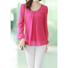 $6.64 Chain Embellished Shirred Chiffon Solild Color Blouse For Women