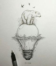 Медведь. Лампа. Рисунок. Красота