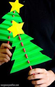 Accordion Paper Christmas Tree Craft for Kids #diychristmasart (diy christmas art) Preschool Christmas, Christmas Paper, Christmas Crafts For Kids, Christmas Activities, Simple Christmas, Holiday Crafts, Christmas Decorations, Christmas Ornaments, Christmas Holiday