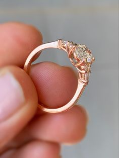 Oval diamond in Rose gold with round and pear side stones. Engagement ring. Diamond ring. Wedding ring. Diamond Jewelry, Gold Jewelry, Oval Diamond, Wholesale Jewelry, Diamond Engagement Rings, Jewelry Gifts, Pear, Stones, Wedding Rings