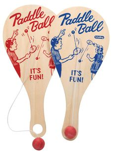 Remember the classic wooden Paddle Ball Game! This deluxe paddle ball features retro blue or red graphics, red rubber ball on an elastic string and a hole in the handle to hold your rubber ball. This deluxe game features a super sturdy and thick quarter inch plywood paddle.