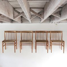 Rush Hour | Vintage Hans Wegner style oak and paper cord dining chairs hang high in shop.