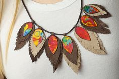 Necklace  leather feathers by artiqueadz on Etsy