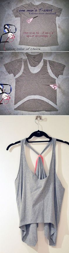 DIY Over-sized Cropped Tank or Vest from a T-shirt | Easy Cut Out Tops for Women by DIY Ready at diyready.com/diy-clothes-sewing-blouses-tutorial/