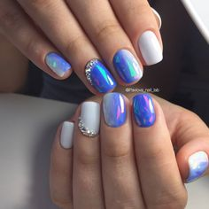 Installation of acrylic or gel nails - My Nails Opal Nails, Blue Nails, White Nails, Blue Chrome Nails, Fancy Nails, Trendy Nails, Hair And Nails, My Nails, Super Nails