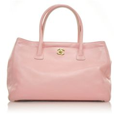 CHANEL Caviar Cerf Shopper Tote w Strap Pink ❤ liked on Polyvore
