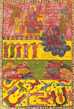 Manuscript commentary, l'Apocalypse de Beatus de Liébana : l'Ascension des deux témoins.  Painted at l'abbaye Saint-Michel d'Escalada, León, Spain around 945. Pierpont Morgan Library, New York.