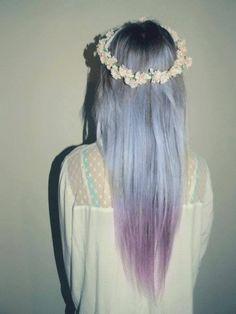 beautiful, blue hair, cute, fashion, flowers, hair, hairstyle, headband