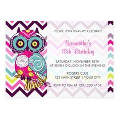 Chevron Retro Groovy Owl Birthday Party Custom Invitation Colorful
