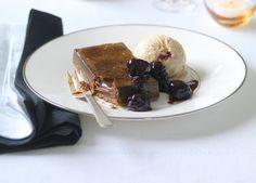 Australian Gourmet Traveller recipe for chocolate brûlée tart with cherry parfait by Ian Curley from The European.