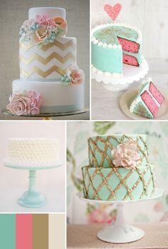 turquoise pink gold wedding cake inspiration