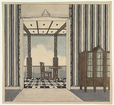 Attributed to Guido Heigl (German, 1890–1926). Design for a Room with a Balcony, ca. 1920. The Metropolitan Museum of Art, New York. Edward Pearce Casey Fund, 1987 (1987.1017)