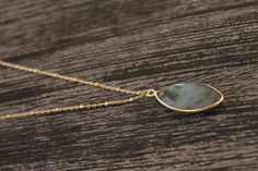 Labradorite Necklace. Gold Everyday Layering Necklace. Semi Precious Necklace. Gold Satellite Chain Necklace. Labradorite Bezel Necklace. by EveilleJewelry on Etsy