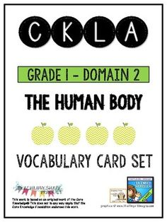Vocabulary cards with definition per lesson, visual, sentence, and part of speech all aligned with CKLA Program Domain 2 - The Human Body Word List Lesson 1 human network organs oxygen systems Lesson 2 joint skeletal system skeleton skull spine support