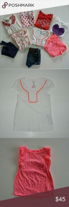"""GIRLS 9 PC BUNDLE OF TOPS & LUCKY BRAND SHORTS Girls 9 pc. bundle of tops and Lucky brand denim shorts. White tee w/ orange trim and tee with red heart print are Jillian's Closet SZ 4 white tee w/ sequin heart is crazy 8 SZ 4 ivory top W/ red trim is Copper Key SZ 5 Red ree w """"peace"""" graphics is Lucky brand SZ 4 white button up W/ fox print is Gymboree SZ 4tpink top is Ruby Moon sz 4 navy ribbed tank is Gap SZ 4/5 Lucky shorts SZ 4.  All excellent used condition Lucky Brand Shirts & Tops…"""