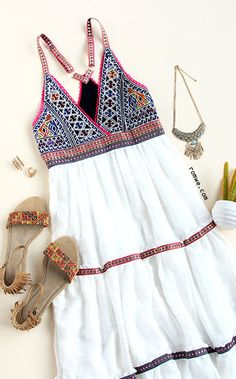 White Embroidered Top Cami Dress