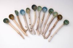 Handmade Ceramic / Pottery & Driftwood Spoons - Nature Inspired Home Decor/Wabi Sabi Handmade in Canada/Utensils/Pottery Dinnerware Slab Pottery, Ceramic Pottery, Ceramic Art, Wabi Sabi, Handmade Pottery, Handmade Ceramic, Keramik Design, 5 Elements, Ceramic Spoons