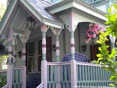 Painted Porch Floors, Porch Paint, Porch Flooring, Victorian Porch, Victorian Cottage, Victorian Homes, Exterior Trim, Exterior Paint, Exterior Design