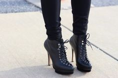 Lace-up booties.