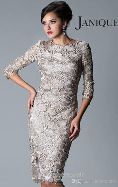 Wholesale Mother of the Bride Dress - Buy 2014 New Plus Size Mother of the Bride Dresses Sheath SIlver Gry Lace 3/4 Sleeve Jewel-Neck Knee /Tea Length Mother of the Groom Dress M1321, $133.9 | DHgate