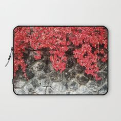 Red ivy leaves autumn stone wall Laptop Sleeve by #PLdesign #autumn #fall #leaves