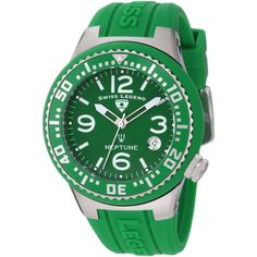 Swiss Legend Neptune Green Dial Green Silicone Watch (929.955 IDR) ❤ liked on Polyvore
