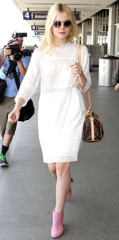 Look of the Day - September 06, 2015 - Elle Fanning is a vision in white at LAX from InStyle.com