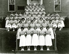 The Lancaster General Hospital Nursing School Preclinical Class of 1959 posed for this photo outside the hospital. The photo was taken in 1957.