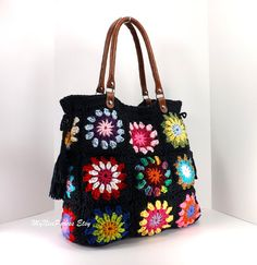 SALE Crochet granny squares handbag with tassels and genuine leather handles /BLACK/, Crochet Bag, Tote Bag, Gift Idea Granny Square Bag, Granny Square Crochet Pattern, Crochet Granny, Granny Squares, Hand Crochet, Crochet Blocks, Square Blanket, Crochet Handbags, Crochet Purses