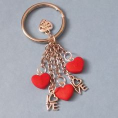 Handmade Hearts & Love Keyring - from fimo polymer clay, this gorgeous handmade keyring is part of Ickle Stitches Valentine's collection.