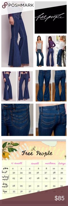 "Free People Stella Stretchy Flared Jeans.  NWT. Free People Stella High Rise Stretchy Flared Jeans, 50% cotton, 23% rayon, 22% polyester, 2% spandex, machine washable, 27"" waist, 8"" front rise, 13"" back rise, 34"" inseam, 27"" leg opening all around, super stretch fabric, chevron-embroidered patch pockets further the hip throwback vibe of these stretch denim that sculpt your figure through the thighs before flaring into a dramatic bell shape, pockets trimmed in orange thread, zip fly button…"