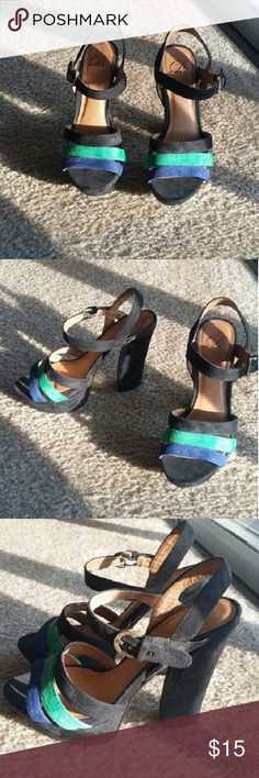 Suede Platforms Black, Blue, and Green suede platforms with gold hardware. Great conditions. Very comfortable. Shoes Platforms