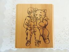 Kidstamps RAY CRUZ Rubber Stamp Boy with Teddy Bear
