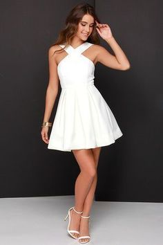 White prom dress, simple prom dresses, lace prom dresses, simple prom dress, Sweet 16 dress by Hot Lady - Homecoming Dresses Semi Dresses, Hoco Dresses, Pretty Dresses, Summer Dresses, White Dresses For Teens, Short White Dresses, Simple Short Dresses, Cheap Semi Formal Dresses, Cheap Skater Dresses