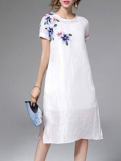 Shop Midi Dresses - White Two Piece Pockets Short Sleeve Linen Midi Dress online. Discover unique designers fashion at StyleWe.com.