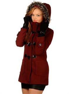 Bayan Kaşe Mont Kapşonlu Kırmızı | Modelleri ve Uygun Fiyat Avantajıyla | Modabenle