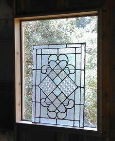 thermal pain leaded glass windows in a bathroom   Saturday 8/25/2012 - Adding the window