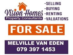 """Contact me  today if you are planning to sell your Property!!!Northern Suburbs and Helderberg AreaSOLE MANDATES IS ALWAYS BETTER FOR US!!!WE DO THE FOLLOWING...1. BOND APPROVALS2. ADVERTISE YOUR PROPERTY3. GIVE PROMPT FEEDBACKS4. PROFESSIONAL SERVICE""""YOUR PROPERTY IS OUR PRIORITY""""NEGOTIABLE COMMISSION RATES!!!CONTACT ME TODAY TO LIST YOUR PROPERTY!!!Melville Van EdenPhone: 079 397 1453Mail: melville@visionhomespc.co.zaWeb: www.visionhomespc.co.za"""