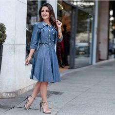 Jeans Frock, Jeans Dress, Chambray, Modest Fashion, Fashion Dresses, Dress Outfits, Cool Outfits, Denim Party, Womens Denim Dress