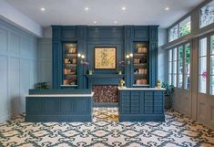 I came across a post about The Eliza Jane in New Orleans a few weeks ago and completely swooned over this check-in area. The architectural detailing, the dark blues, the intricate tile floor - I think it's time for a little vacation 😉 Plumbing Pipe Furniture, Plywood Furniture, Modern Furniture, Furniture Design, New Orleans Homes, Feature Wall Living Room, Eliza Jane, Home Lighting Design, Houses