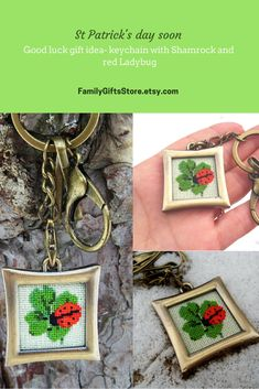 Good luck gift idea Fashion accessory Metal bronze color keychain Irish lucky clover bag charm Green Four Leaf Shamrock red Ladybug keyring Good Luck Gifts, Dmc Floss, Lucky Charm, Little Gifts, Etsy Handmade, St Patricks Day, Ladybug, Irish, Fashion Accessories