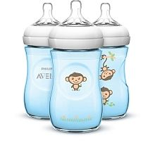 Philips Avent - BPA Free Natural 9oz Blue Bottles - 3-Pack, Jungle/Monkeys