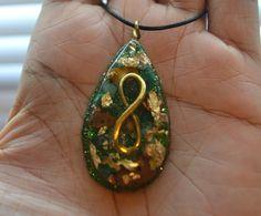 Golden Infinity  Orgone Pendant  Malachite Green by Kambalaya