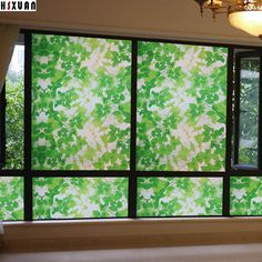 60*400 Cm Vinyl Green Static Window Film Stained Privacy Cling Window Sticker Excellent Quality Self Adhesive Home Kitchen Decorative Glass Foil