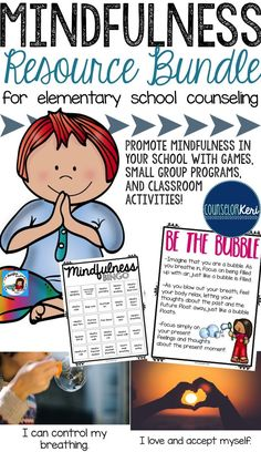 Mindfulness resource bundle for elementary school counseling! mindfulness activities for small Group counseling, mindfulness games, and mindfulness classroom activities! Elementary School Counselor, School Counseling, Elementary Schools, Career Counseling, Counseling Activities, Classroom Activities, Emotions Activities, Youth Activities, Therapy Activities