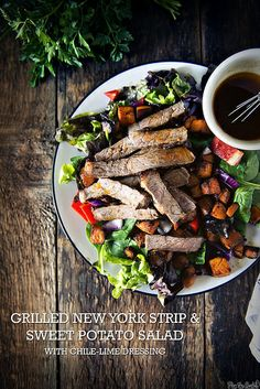 Grilled New York Strip and Sweet Potato Salad with Chile-Lime Dressing