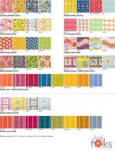 This information, along with the fabric swatches, came from the FreeSpirit website.  Feel free to use this mosaic for your own needs, but it would be great if you could reference this location in some way. :)